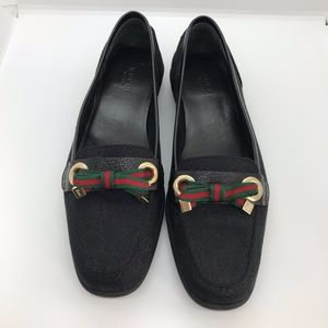 Gucci loafer blk GG, red green ribbon, size 7